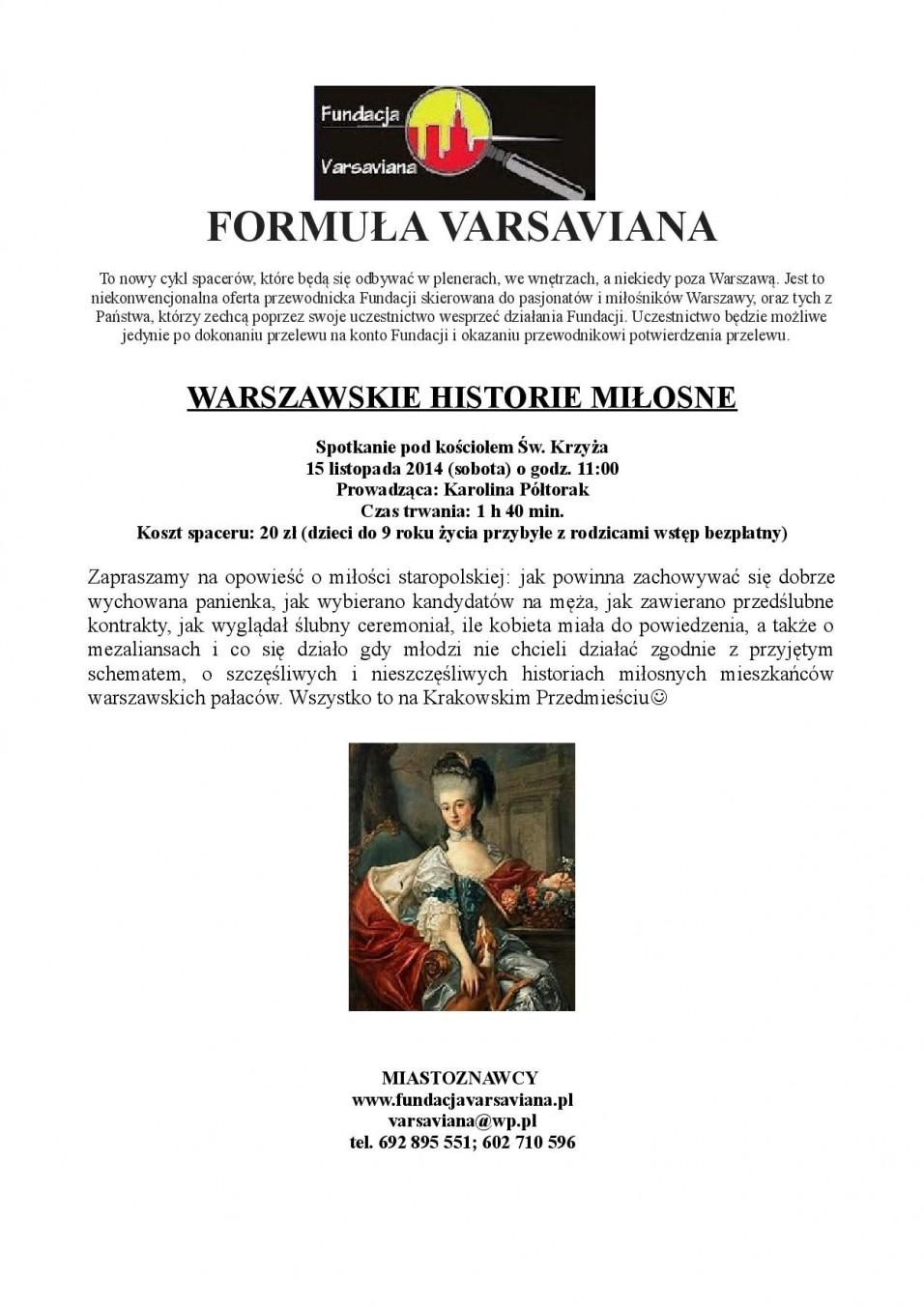 Wydarzenia Warszawskie Historie Miłosne Spacer Z